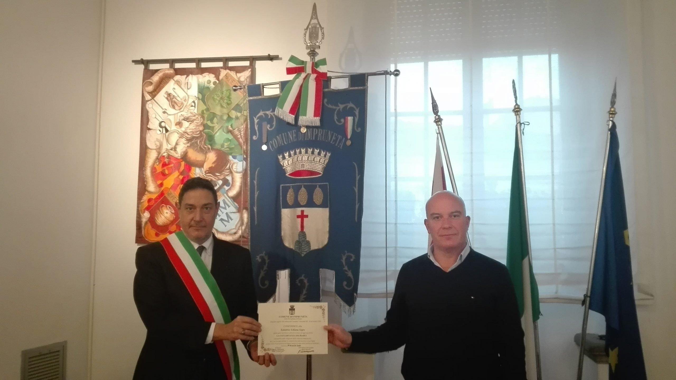 Impruneta, inviata la pergamena alla Senatrice Liliana Segre: è una cittadina onoraria